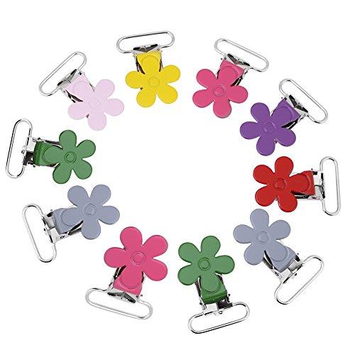 10PCs 25mm Mini Plum Shaped Klammern Clip Blumen Muster Suspender Schnuller Clip Snap Halter Dekorative Baby Schnuller DIY Craft - Gemischte Farbe