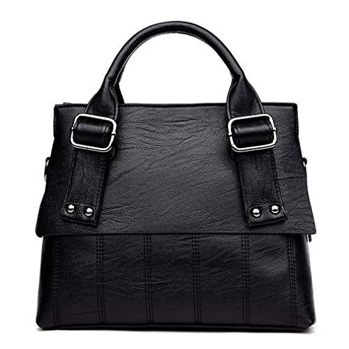 Nuanxin Damen Handtasche Umhängetasche, Koreanische Version Der Vielseitigen Mode Umhängetasche, Schwarz, 32 * 25 * 12 cm U10