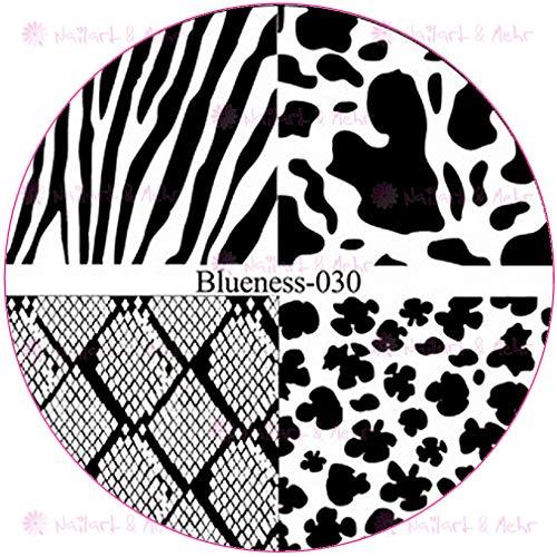 ++ABVERKAUF++ STAMPING-SCHABLONE # BLUENESS-030 Animalprint, Snakeskin, Schlangenhaut, Zebra, Gepard