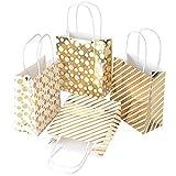 12 Stück Geschenktüten Geschenktaschen Papiertüten Papiertaschen Papier Tragetaschen Tüten mit Kordel Gold für Geburtstag, Hochzeit,Weihnachten und Gastgeschenke (14.8 * 7 * 16.7cm)