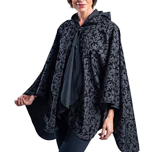 RainCaper Regenponcho für Damen, wendbar, regendicht, mit Kapuze, in wunderschönen, ultraweichen Farben (wählen Sie Ihre Farbe) - Schwarz - Einheitsgröße -