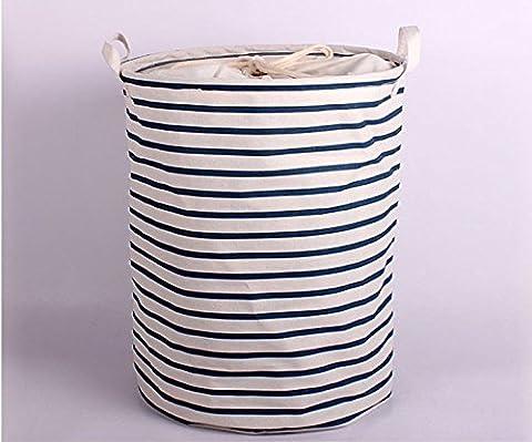 Ailan Fashion Cotton Linen Fabric Household Organizer Laundry Basket 13.78x17.72 Inches, Blue strips (Blue
