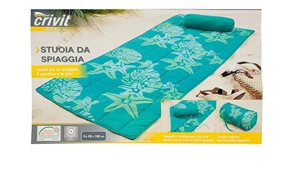 Crivit strandliege  Crivit Beach Strandmatte mit Nackenrolle Grün/Türkis/Blau 180x80cm ...