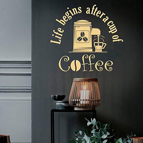 Tianpengyuanshuai Cup Decal Leben beginnt, nachdem eine Tasse Kaffee Anführungszeichen Bohnen Zeit Restaurant Café Getränk Kaffeehaus Vinyl Aufkleber 57x61cm entspannen