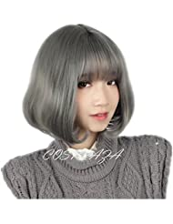 COSPLAZA Perruque Attractive grise courte Bob beau Femmes Daily Cosplay Wig Cheveux