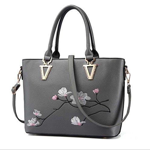 Frau Multi-Funktions-Handtasche Schulter Kreuz Pack Stickerei Stil Große Kapazität für Frauen Light Gray