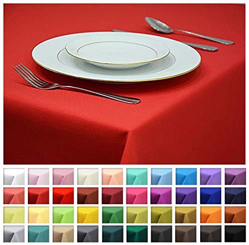 Rollmayer Tischdecke Tischtuch Tischläufer Tischwäsche Gastronomie Kollektion Vivid (Rot 12, 140x280cm) Uni einfarbig pflegeleicht waschbar 40 Farben -