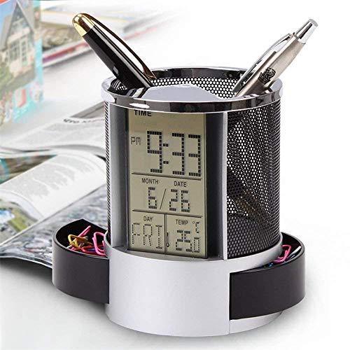 Portapenne da scrivania ufficio led digitale multi-funzione abs struttura a rete calendario sveglia timer temperatura per ufficio,insegnanti o studenti e bambini (nero)