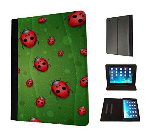 Preisvergleich Produktbild 1287 - Cool Fun Trendy cute kwaii bugs ladybird green nature Design Apple ipad 2 ipad 3 ipad 4 Fashion Trend TPU Leder Brieftasche Hülle Flip Cover Book Wallet Stand halter Case