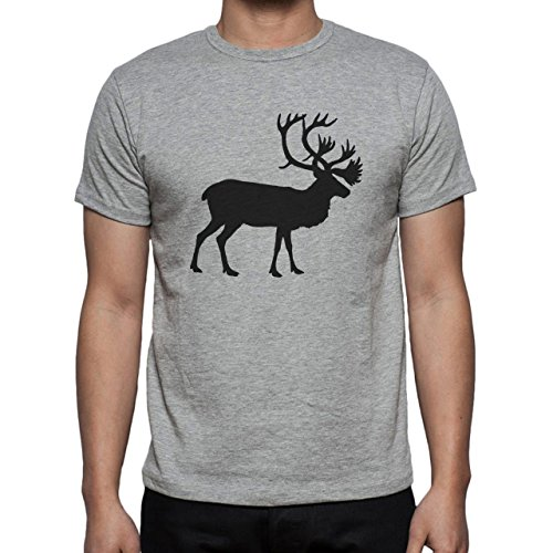 Deer Animal Wood Creature Horns Big Shadow Herren T-Shirt Grau