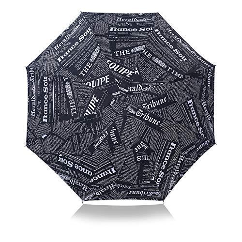 DORRISO Durable Plegable Paraguas Hombres Mujer Ligero Viajar Ocio y Resistente al Viento Impermeable Anti-UV Sencillo Cómodo Negro/Blanco Periódico Sombrilla