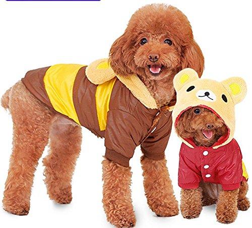 Zwei Füße Haustier Kleidung mit Hüte für Hunde / Katzen, kalte Winterkleidung (Rote XXL)