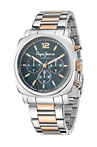 Pepe Jeans Howard Men's Quartz Watch with Blue Dial Analogue Display and Rose Gold Stainless Steel Strap R2353111001