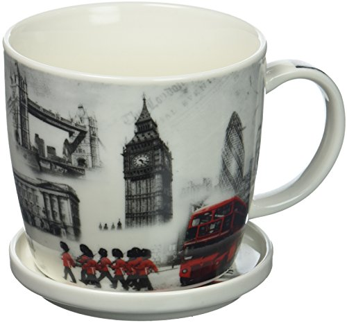 The Leonardo Collection Fine China London Commemorative Mug & Coaster Delivered In a Gift Box, White -