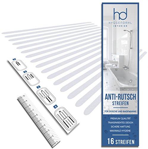 16x Anti-Rutsch Streifen für Dusche Whirlpool Badewanne | Selbstklebender Rutschschutz Transparent | Klebestreifen mit Positionier-Schablone | HYGGENDAHL