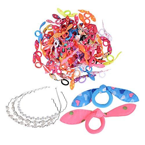 100 Stk Haarband Elastische Haargummi Cartoon+ 3 haarreifen Perle für Mädchen Kinder Mehrfarbig Mini Stretchable Haargummi Gummiband niedliche hasenohren...