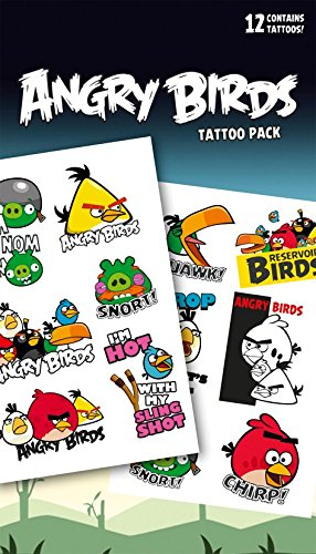 """Image of GB Eye """"Angry Birds, Phrases"""" Tattoo Pack, Multi-Colour"""