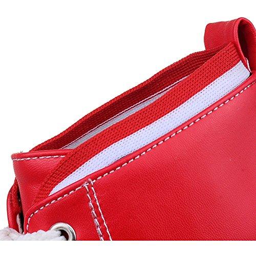 ENMAYER Femmes PU Casual Bout Rond Hight Croissante Flatform Hautes Chaussures Rouge