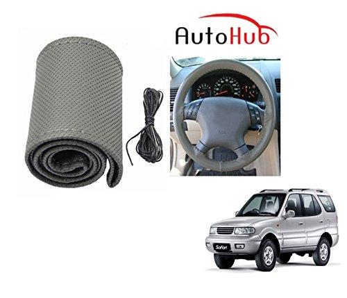 Auto Hub Premium Quality Car Steering Wheel Cover For Tata Safari Dicor - Grey  available at amazon for Rs.199