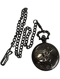 Handmade Black Color Eagle Designer Battery Powered Pocket Watch With Long Chain