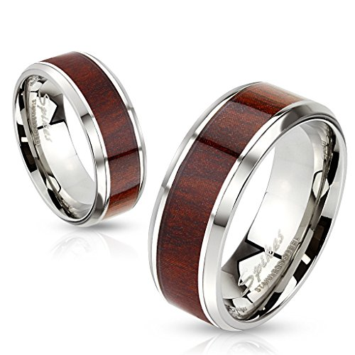 BlackAmazement Unisex Edelstahl Ring Walnuss Holz Wood Inlay Band Ring silber Herren Damen braun Band (60 (19.1)) -
