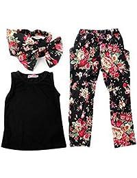 GenialES 3pcs Camiseta sin Mangas Pantalones Florales Estampados Banda de Pelo para Bebé Niñas Talla 80 a 140