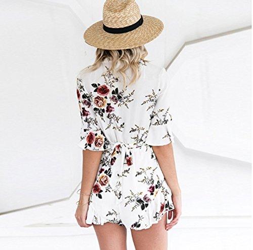 ASSKDAN Femme Combinaison Short Imprimé Floral Col V Profonde Choker Manche 3/4 Jumpsuit d'été Blanc