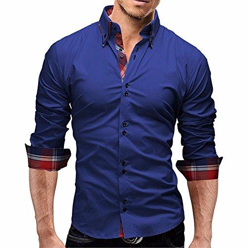 Herren Hemd Longra Herren Herbst Plaid Langarm Shirts Männliche lange Ärmel Hemden Herrenhemd Langarm Shirt Männer Slim Fit Freizeithemd Businesshemd (L, Blue)