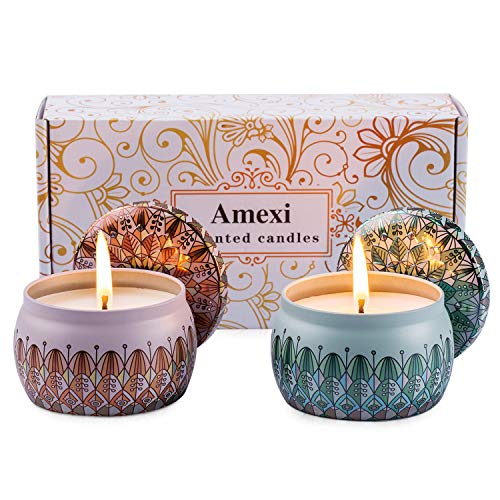 Amexi Duftkerze Jasmin, Flieder, Lavendel, Rose Duftkerzen 100% Sojawachs Aromatherapie Kerze 40Std 154g