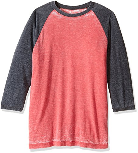 Jack Of All Trades Herren Burnout Crew Neck Raglan 3/4 Arm - Rot - Klein -