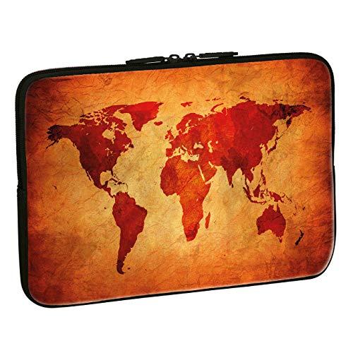 PEDEA Design Schutzhülle Notebook Tasche bis 13,3 Zoll (33,7cm), Brown Global Map
