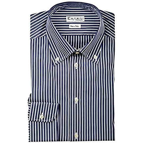 Ernani Camicia Popeline Blu Righe Bianche Slim Fit, button down, uomo - Made in Italy -