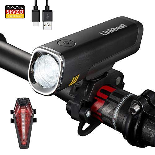 Linkbest Fahrradbeleuchtung Set Stvzo zugelassen USB wiederaufladbare Fahrradlicht, Samsung Li-ion Akku 2600mAh, 40 Lux, Cree LED,wasserdicht IPX-5, verstellbare Halterung Fit für alle Fahrräder.