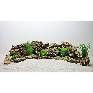 AQUARISTIKWELT24 Pro STÜCK 300-600g/Stein Nr.62 Aquarium Deko Natursteine in Wüstensand Optik Dekoration Steinrückwand Steine Felsen