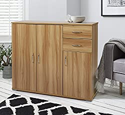 Laura James Sideboard – Home Office Cupboard Cabinet Unit Chest – with 2 drawers and shelf shelves (Beech)