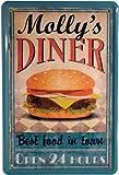 Blechschild Molly´s Diner Burger 20 x 30cm Reklame Retro Blech 929