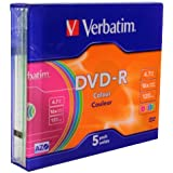 Verbatim Vírgenes DVD-R Advanced AZO + 16x Speed Colour Surface 5 unidades Slim Case