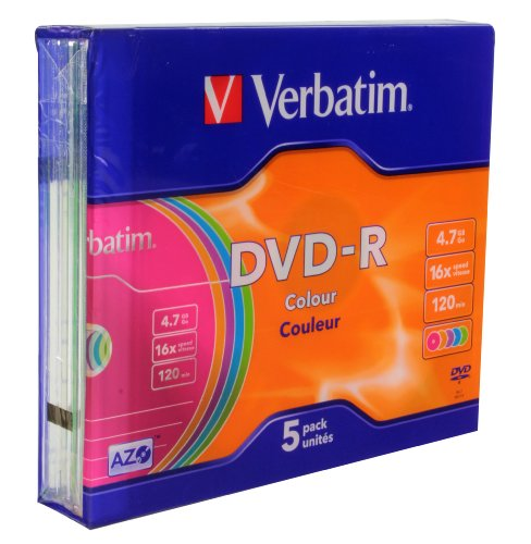 Verbatim DVD-R Advanced AZO + 16x Speed Colour Surface 5er Pack Slim Case DVD-Rohlinge
