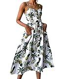 Dabag Blusenkleider Elegante Kleid Swing Beachwear Sexy Druckkleider Damen Trägerkleid Ärmellos Gepunktet Knöpfe a-Linie Empire Tailliert Schlank Schulterfrei Unique