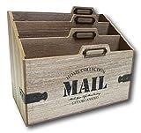 UrbanDesign Brief Ablage Schreibtisch Organizer Postablage Sortierer Register Mail aus Holz für Büro Haushalt Flur Retro Vintage Look