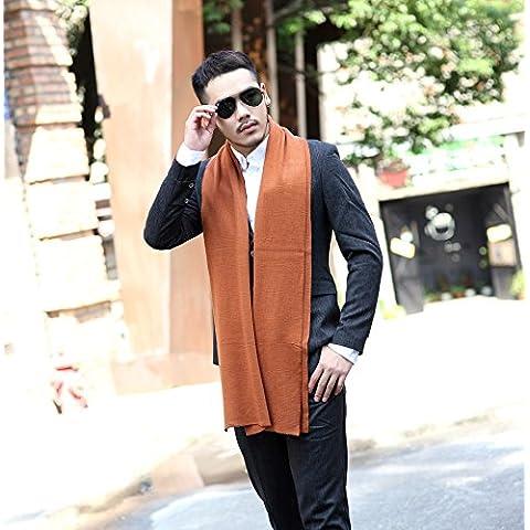 In autunno e in inverno gli uomini alla moda in stile inglese con colori solidi sciarpe semplici uomini di spessore Sciarpa lavorata a maglia in cotone Lana W-308