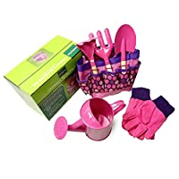 Stronrive Kids Gardening Tool Bags, Parent-Child Interaction Tools Kit, Watering Can,Children Gardening Gloves,Shovel,Rake,Fork And Garden Tote Bag, Blue, Pink