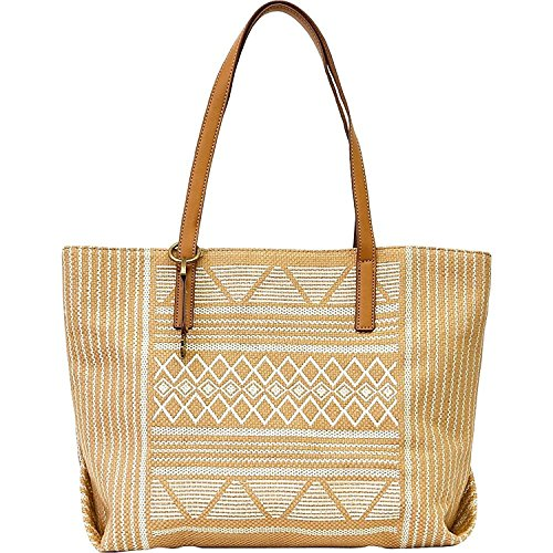 Lucky Brand Womens Cassis Woven Faux Leather Trim Tote Handbag Tan Large (Trim Large Tote)
