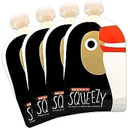 Happy Squeezy (4 bolsas) bolsas de comida para bebés reutilizables - ideal para batidos de fruta caseros, papilla para bebés, yogurt, 170ml, sin BPA, estanco
