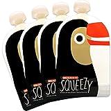 Happy Squeezy (4er Pack) wiederverwendbare Quetschbeutel zum selbst befüllen + GRATIS EBOOK mit...