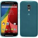 Funda de silicona para Motorola Moto G 2014 2. Generation - transparente turquesa - Cover PhoneNatic Cubierta + protector de pantalla