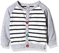 Magic Kids Girl's Sweater with Stripes Cardigan, Grey-Grau (Grey/Rose 5500), 68 cm