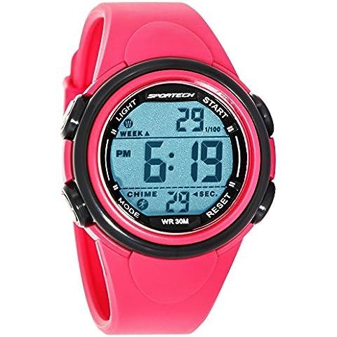 Sportech SP11003 - Reloj de pulsera digital deportivo, unisex, bisel de color gris y rosa