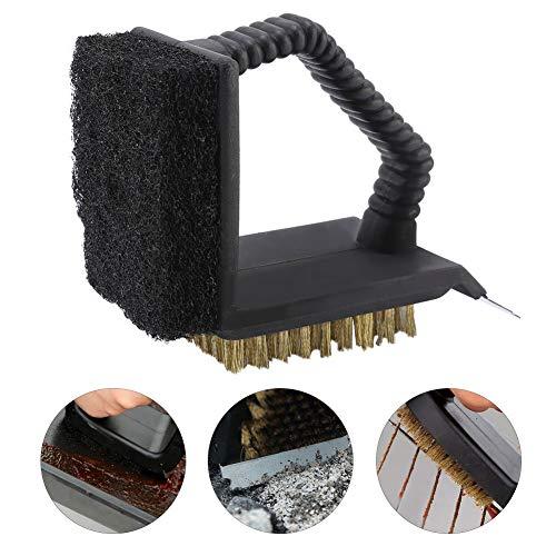 Grillwerkzeug-Reinigungsbürste mit Griff, multifunktionale 3-in-1-Reinigungsbürste aus haltbarem Edelstahl für Grillöfen