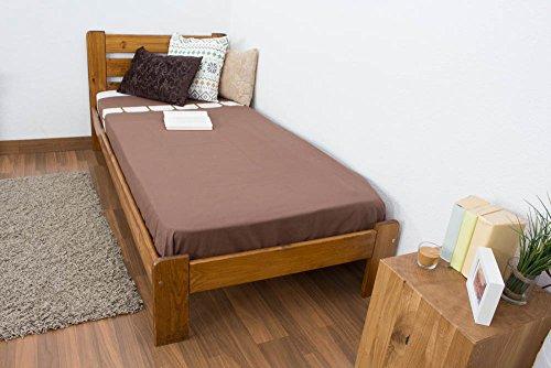 Einzelbett / Gästebett Kiefer Vollholz massiv Eichefarben A27, inkl. Lattenrost - Abmessung 90 x 200 cm